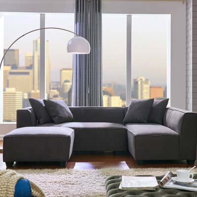 Carmean Modular Sectional with Ottoman Upholstery : Dark Gray