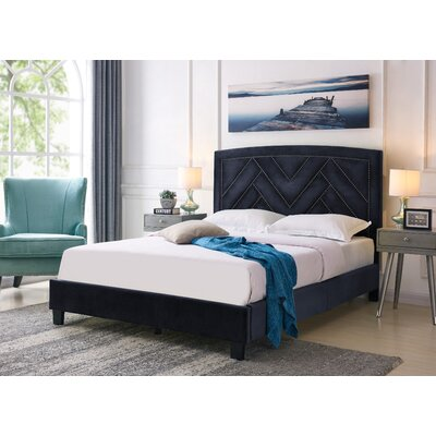 Arverne Queen Upholstered Panel Bed Color: Navy Blue