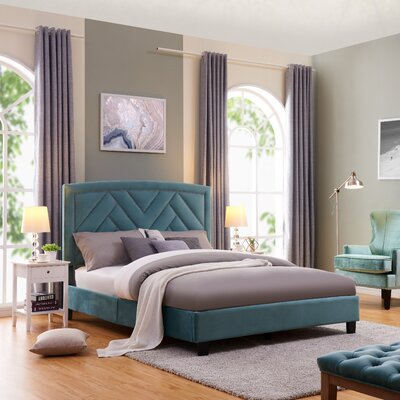 Arverne Queen Upholstered Panel Bed Color: Turquoise