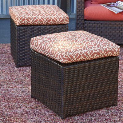 Image of Azura Rattan Ottoman with Geometric Cushion Finish: Brown, Fabric: Terracotta