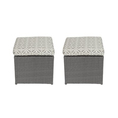 Image of Azura Rattan Ottoman with Geometric Cushion Finish: Gray, Fabric: Warm Gray
