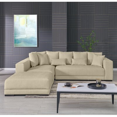 Hugo Reversible Sectional with Ottoman Upholstery: Creamy Tan