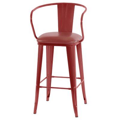 Ocilla 36 inch Bar Stool with Cushion Finish: Red