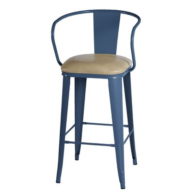 Maliyah 36 Bar Stool Finish: Navy`