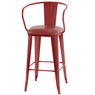 Ocilla 42 Bar Stool with Cushion Finish: Red