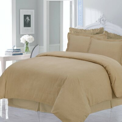 Flannel 3 Piece Duvet Set Size: King, Color: Cappuccino