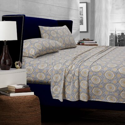 Maldives Medallion 300 Thread Count Egyptian Quality Cotton Deep Pocket Sheet Set Size: King, Color: Gray/Yellow