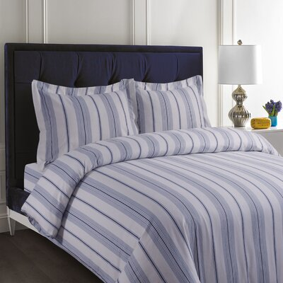 Flannel Cotton Stripe Duvet Set Size: King