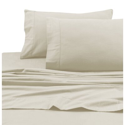 Flannel Solid Extra Deep Pocket Sheet Set Size: King, Color: Linen