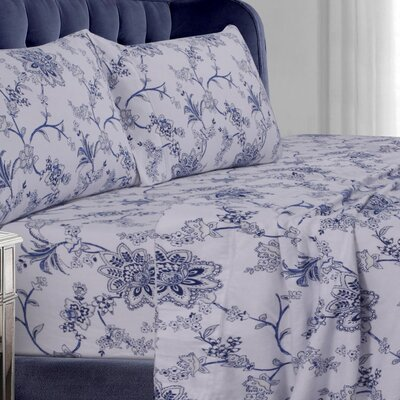 Floral Flannel Sheet Set Size: California King