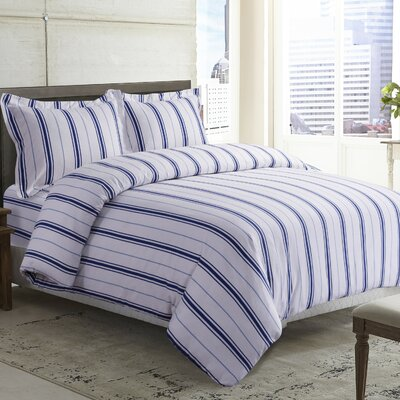 Stripe Printed Deep Pocket Flannel Sheet Set Color: Blue, Size: Twin