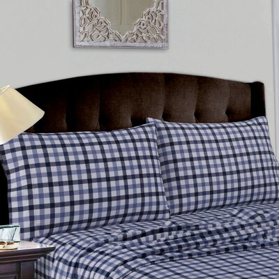 Cotton Deep Pocket Flannel Sheet Set Size: King, Color: Navy Blue