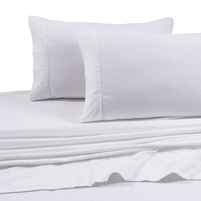 Flannel Solid Extra Deep Pocket Sheet Set Size: Full, Color: White