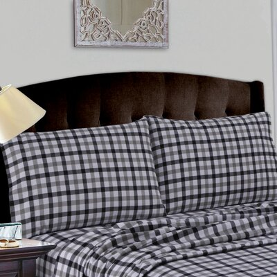 Cotton Deep Pocket Flannel Sheet Set Size: Queen, Color: Black Gray