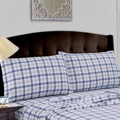 Cotton Deep Pocket Flannel Sheet Set Size: King, Color: Dusty Blue