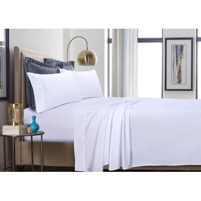 500 Thread Count 100% Cotton Percale Extra Deep Pocket Sheet Set Size: Full, Color: White