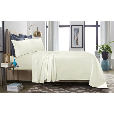 500 Thread Count 100% Cotton Percale Extra Deep Pocket Sheet Set Size: King, Color: Ivory