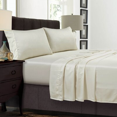 Diaz 300 Thread Count Sateen Extra Deep Pocket Sheet Set Size: King, Color: Ivory