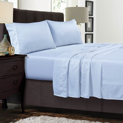 Diaz 300 Thread Count Sateen Extra Deep Pocket Sheet Set Size: Full, Color: Spa Blue