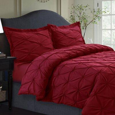 Sydney Duvet Set Size: King, Color: Deep Red
