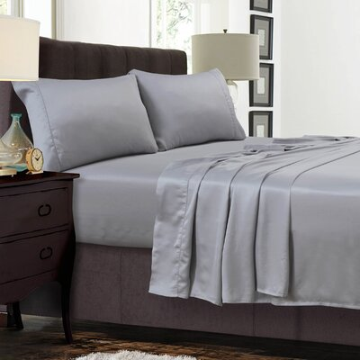 Diaz 300 Thread Count Sateen Extra Deep Pocket Sheet Set Color: Silver Gray, Size: Twin