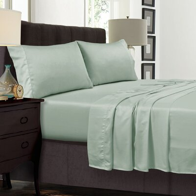 Diaz 300 Thread Count Sateen Extra Deep Pocket Sheet Set Color: Sage Green, Size: California King