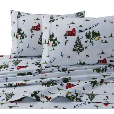 North Pole Print 4 Piece 100% Cotton Sheet Set Size: Queen
