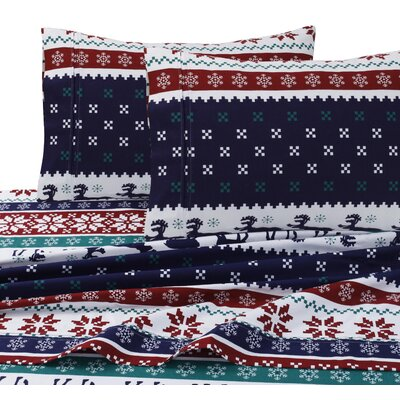 Deer Valley Print 4 Piece 100% Cotton Sheet Set Size: Queen