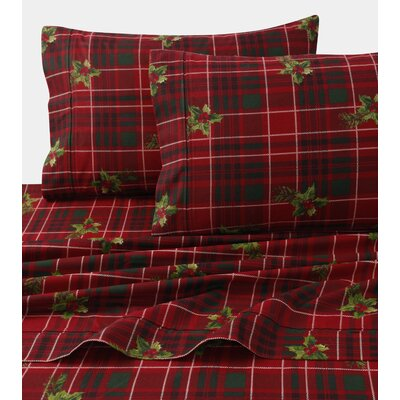 Vintage Plaid Print 4 Piece 100% Cotton Sheet Set Size: Full