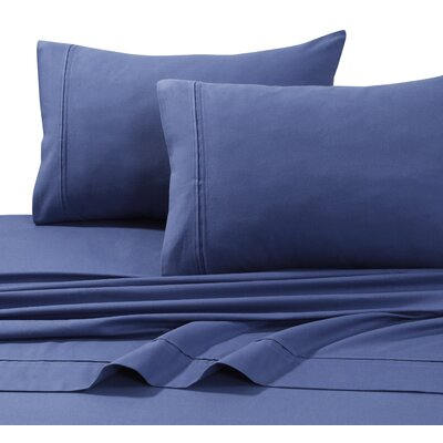 4 Piece Flannel Sheet Set Size: King, Color: Moonlight Blue