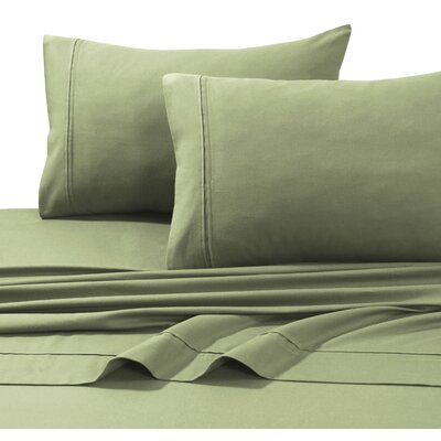 4 Piece Flannel Sheet Set Size: King, Color: Sage Green