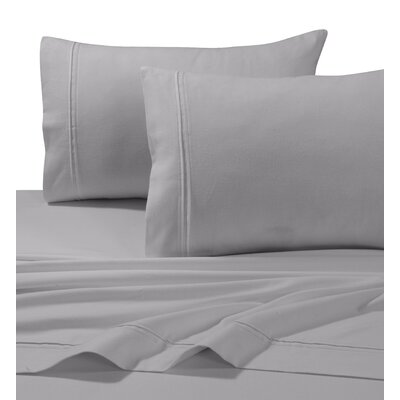 4 Piece Flannel Sheet Set Size: Cal King, Color: Silver Gray