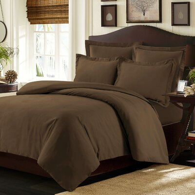 Valencia Duvet Cover Set Color: Chocolate, Size: Queen