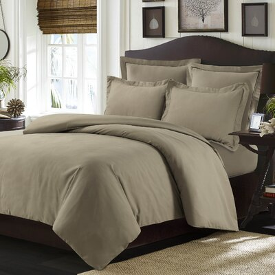 Valencia Duvet Cover Set Color: Taupe, Size: Queen