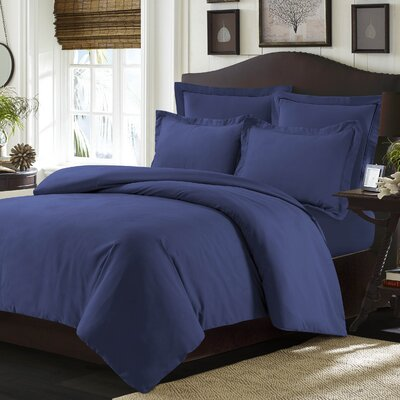 Valencia Duvet Cover Set Color: Moonlight Blue, Size: King