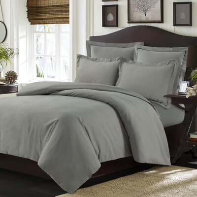 Valencia Duvet Cover Set Color: Silver Gray, Size: Queen