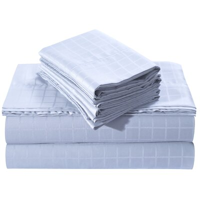 Windowpane Dobby Deep Pocket 250 Thread Count 100% Cotton Sheet Set Size: King, Color: Sky Blue
