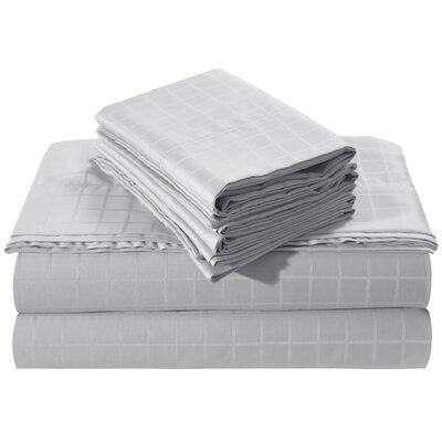Windowpane Dobby Deep Pocket 250 Thread Count 100% Cotton Sheet Set Size: King, Color: Silver Gray