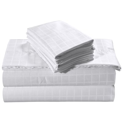 Windowpane Dobby Deep Pocket 250 Thread Count 100% Cotton Sheet Set Size: King, Color: White