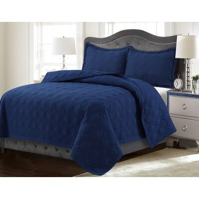 Coalton Solid or Printed Oversized Quilt Set Color: Estate Blue, Size: Twin