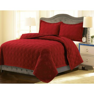 Coalton Solid or Printed Oversized Quilt Set Color: Chili Pepper Red, Size: King