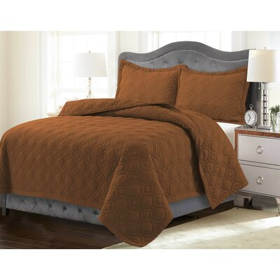 Coalton Solid or Printed Oversized Quilt Set Color: Glazed Ginger, Size: King