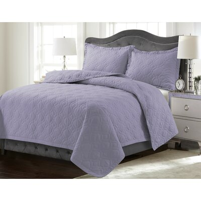 Coalton Solid or Printed Oversized Quilt Set Color: Lavender, Size: Twin