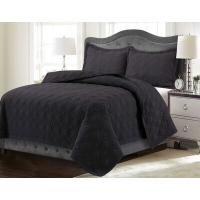 Coalton Solid or Printed Oversized Quilt Set Color: Steel Gray, Size: Twin