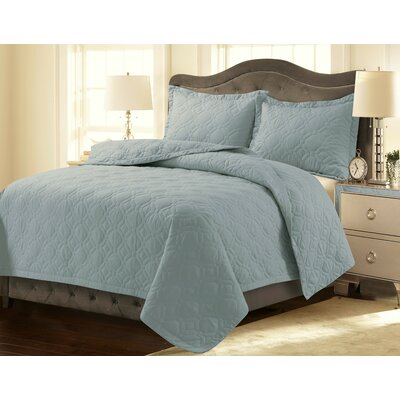 Coalton Solid or Printed Oversized Quilt Set Color: Sky Blue, Size: King