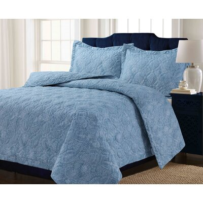 Kaydance Solid or Printed Oversized Quilt Set Color: Paisley Blue, Size: Twin