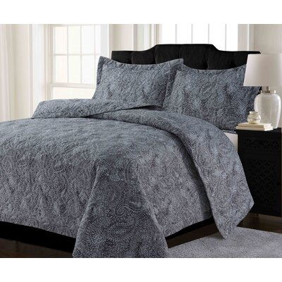 Kaydance Solid or Printed Oversized Quilt Set Color: Paisley Gray, Size: Twin