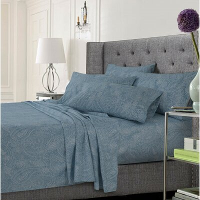 Coatsburg Ultra-Soft Solid or Printed Extra Deep Pocket Sheet Set Size: King, Color: Paisley Blue