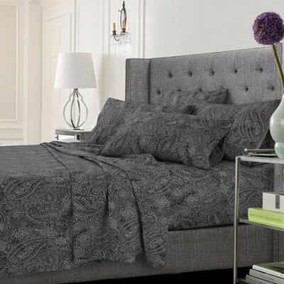 Coatsburg Ultra-Soft Solid or Printed Extra Deep Pocket Sheet Set Color: Paisley Gray, Size: King