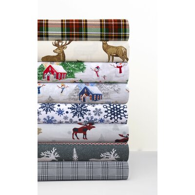 Moose Reindeer 170-GSM Printed Flannel Extra Deep Pocket 100% Cotton Sheet Set Size: Queen